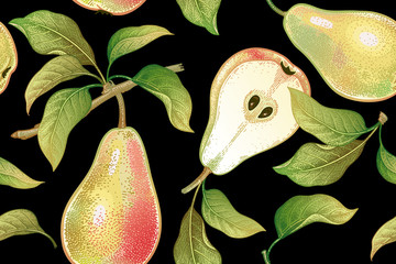 Vintage seamless pattern with pears.