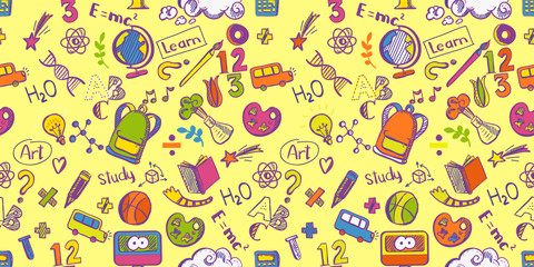 Education supplies seamless pattern