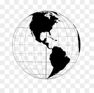 World globe frame in black on a transparent background with North and South America in front.