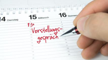 Vorstellungsgespräch / Termin im Terminkalender / Terminplaner