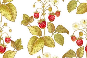 Botanical seamless pattern with strawberry.