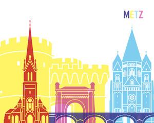 Wall Mural - Metz skyline pop