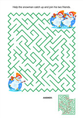 Maze game or activity page for kids: Help the snowman catch up and join his two friends. Answer included.
