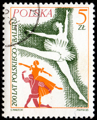 UKRAINE - CIRCA 2017: A postage stamp printed in Poland shows Prima ballerina from series Ballet, circa 1985