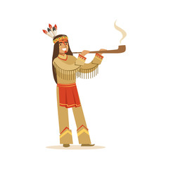 Native american indian in traditional indian clothing smoking pipe vector Illustration