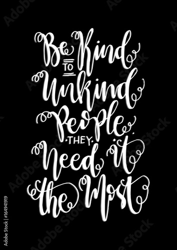 "Christian Inspirational Quotes Black Background: ""Hand Lettering Be Kind On Black Background. Buddha Quote"