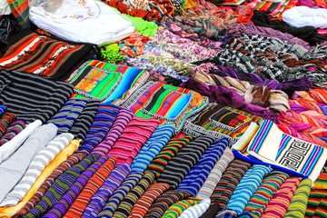 Display of traditional textile at the street market in Montevideo, Uruguay