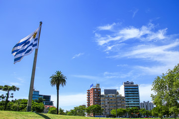 National flag of Uruguay flying in Tres Cruces district of Montevideo, Uruguay
