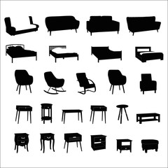 Set of modern furniture silhouettes