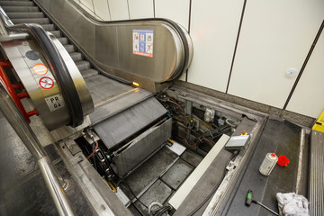 Maintenance work for escalator