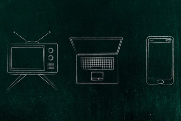 technology evolution from television to laptop to smartphone