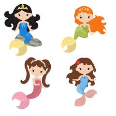 Set of cute girl mermaids