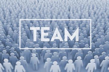 Teamwork. Large group of stick figure people. 3D Rendering