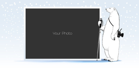 Photo frame collage, scrapbook for winter or Christmas vector illustration