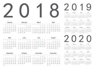 Set of european 2018, 2019, 2020 year vector calendars