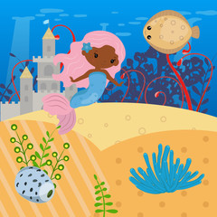 Vector background with an underwater world