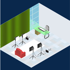 Isometric photo studio room interior with workplace, equipment, professional lighting and photo camera.