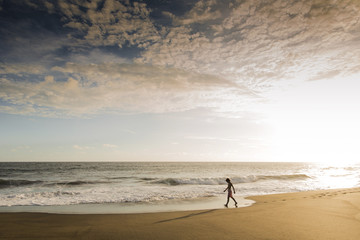 One person walking along the water's edge on a sandy beach at sunset.