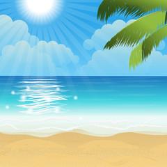 Beautiful tropical beach scene with palm leaves and sun, vector illustration