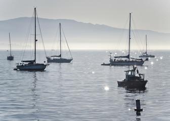 Yachts anchored off Santa Barbara beach