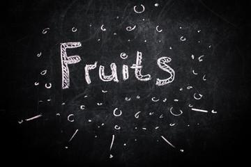 the inscription chalk fruit on black Board