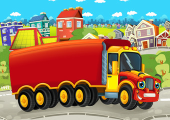 happy and funny cartoon truck looking and smiling driving through the city - illustration for children