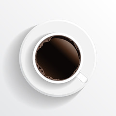Realistic top view black coffee cup and saucer isolated on white background. illustration