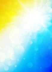 Sun rays bokeh beach background