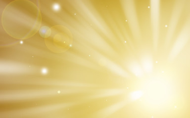 Soft Golden glitter sparkles rays lights bokeh Festive Elegant abstract background.