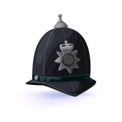 London policeman helmet. Vector illustration .Masquerade or carnival costume headdress