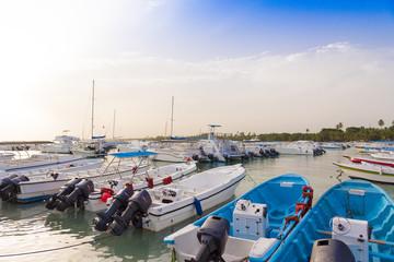 Boats near the shore in Bayahibe, La Altagracia, Dominican Republic. Copy space for text.