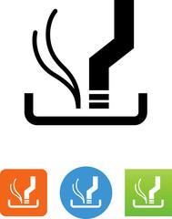 Cigarette Butt In Ash Tray Icon - Illustration
