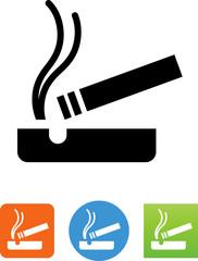 Cigarette In Ash Tray Icon - Illustration