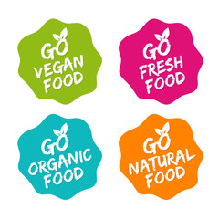 Wall Mural - Set of Food Badges. Vegan, Organic, Natural and Fresh Food. Vector hand drawn Signs. Can be used for packaging Design.