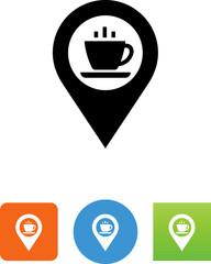 Coffee On Pin Icon - Illustration