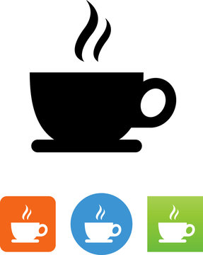 Coffee Cup With Plate And Aroma Icon - Illustration