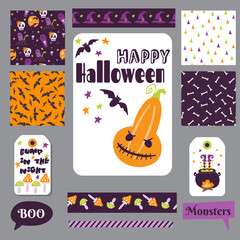 Set Halloween printable cards. Vector illustration