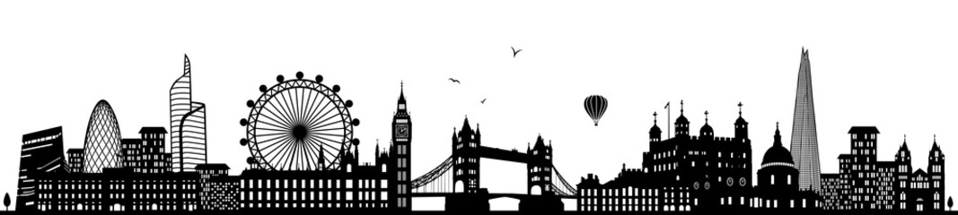 London Skyline schwarz