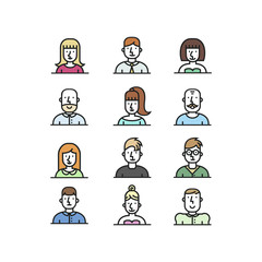 People avatar line style icons set on white background.