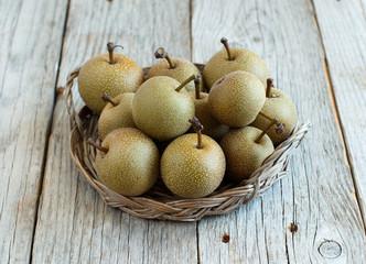Nashi Pears on wood