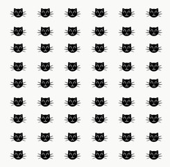 Pattern with black cats on a white background