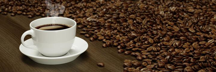 Frische Tasse Kaffee zum Frühstück