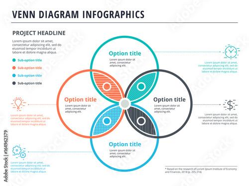 Venn diagram with 4 circles infographics template design vector venn diagram with 4 circles infographics template design vector overlapping shapes for set or logic ccuart Images