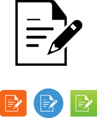 Document With Pencil And Writing Icon - Illustration