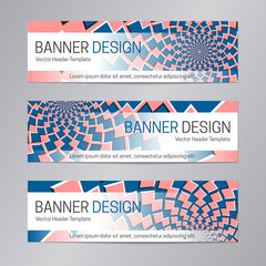 Abstract web header design. Blue red banner template.