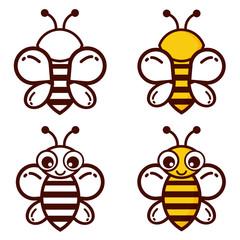 cartoon bee outline vector set