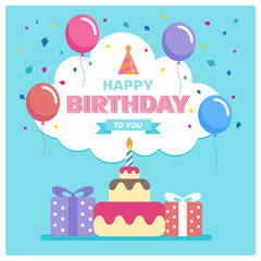 Happy birthday to you with cake , gift box balloon and ribbon on blue background