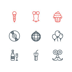 Vector Illustration Of 9 Feast Icons. Editable Pack Of Soft Drink, Decoration, Karaoke And Other Elements.