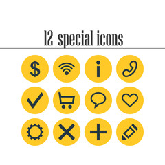 Vector Illustration Of 12 User Icons. Editable Pack Of Pen , Handset, Wrong Elements.