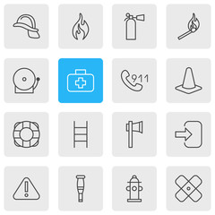 Vector Illustration Of 16 Necessity Icons. Editable Pack Of Spike, Burn, Stairs And Other Elements.